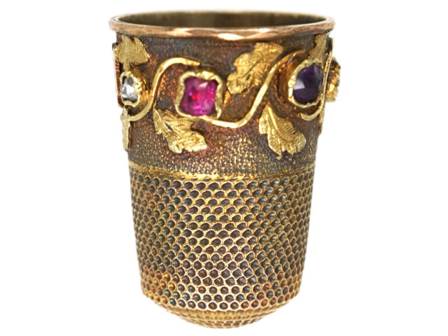 Victorian 15ct Gold Thimble with Stones that Spell Regard