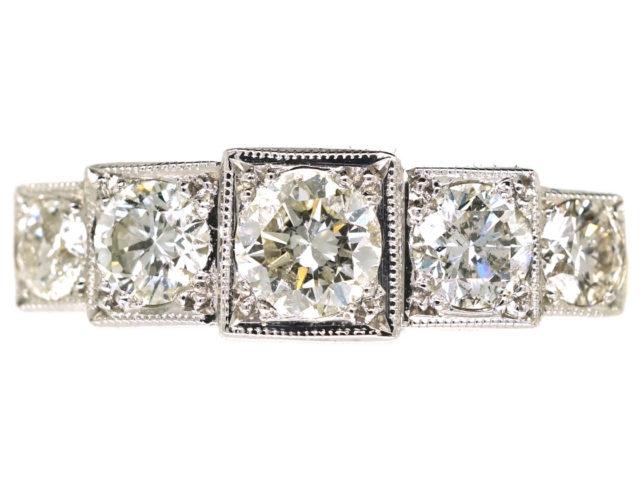 Art Deco 18ct Gold & Platinum Step Cut Design, Five Stone Diamond Ring