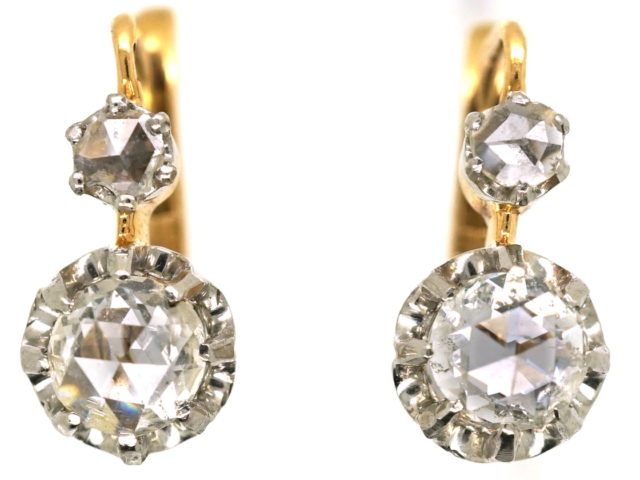 French 18ct Gold, Rose Diamond Drop Earrings