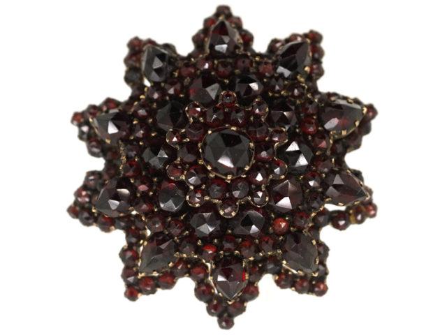 Victorian Bohemian Garnet Star Brooch