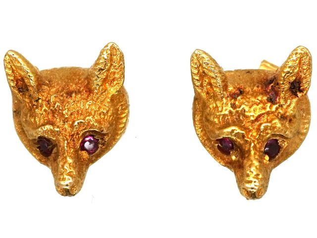 9ct Gold Fox Head Earrings with Ruby Eyes by Cropp & Farr