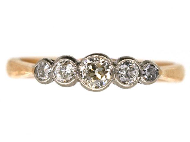 Edwardian 18ct Gold, Platinum Five Stone Diamond Ring