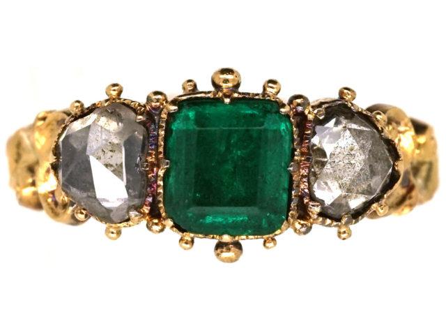 Georgian 18ct Gold, Emerald & Rose Diamond Hearts Ring