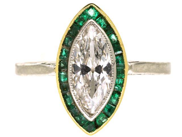 Art Deco Emerald & Diamond Marquise Ring