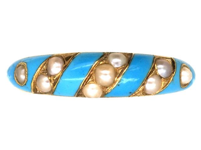 Georgian 15ct Gold, Enamel & Natural Split Pearl Ring with Locket on Reverse