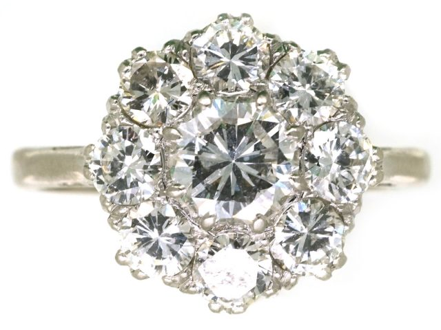 18ct White Gold & Platinum, Diamond Cluster Ring by Boodle & Dunthorne