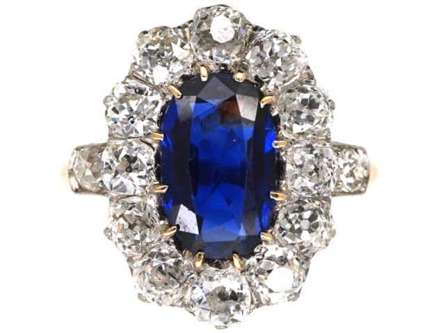 French 18ct Gold Large Sapphire & Diamond Oval Cluster Ring