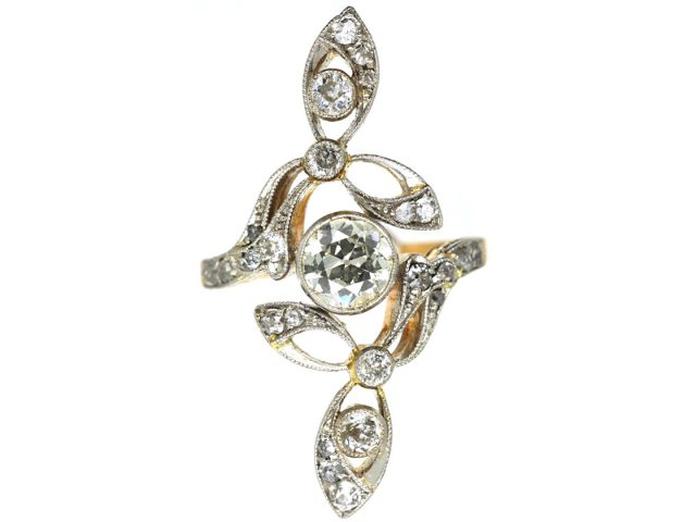 Art Nouveau 18ct Gold, Platinum & Diamond Ring