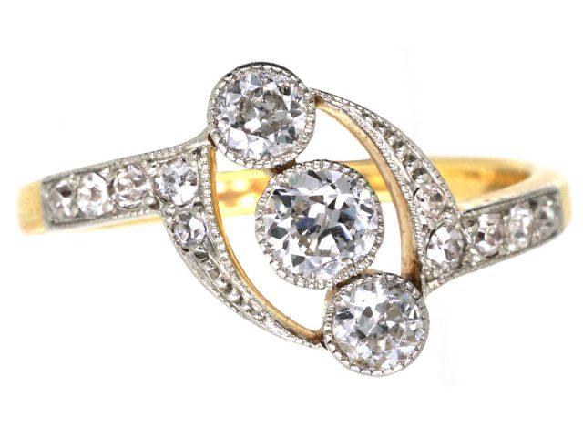 Edwardian 18ct Gold, Platinum & Diamond Ring