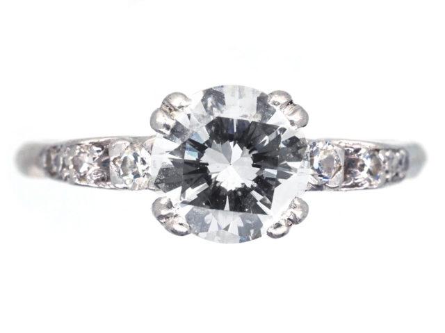 Art Deco Platinum & Diamond Solitaire Ring with Diamond Shoulders