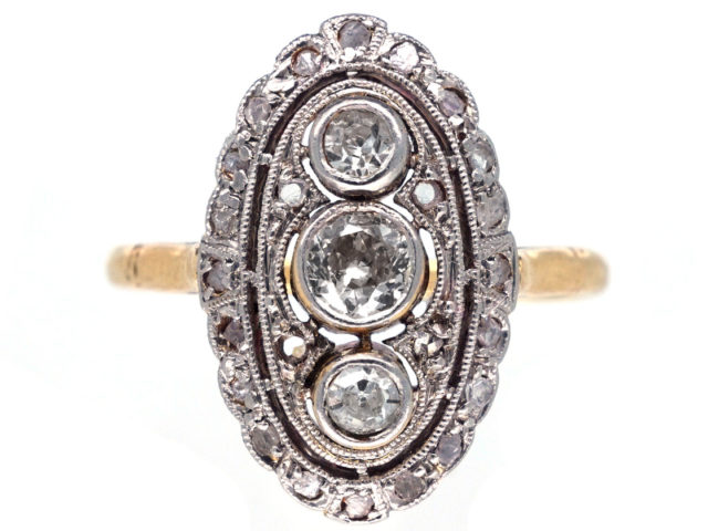 Art Deco Oval Diamond Cluster Ring