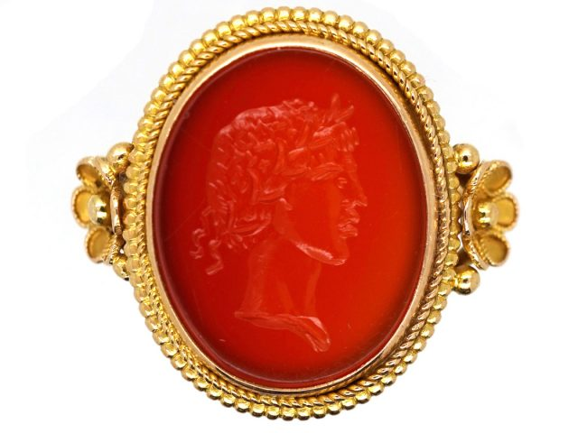14ct Gold Carnelian Intaglio Ring of a Greek God