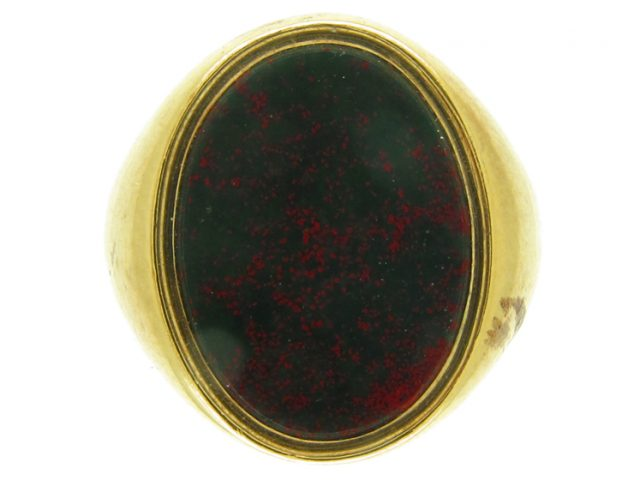 18ct Gold Bloodstone Plain Signet Ring