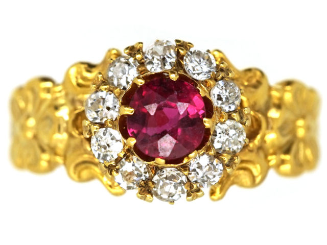 Art Nouveau 18ct Gold Ruby & Diamond Cluster Ring