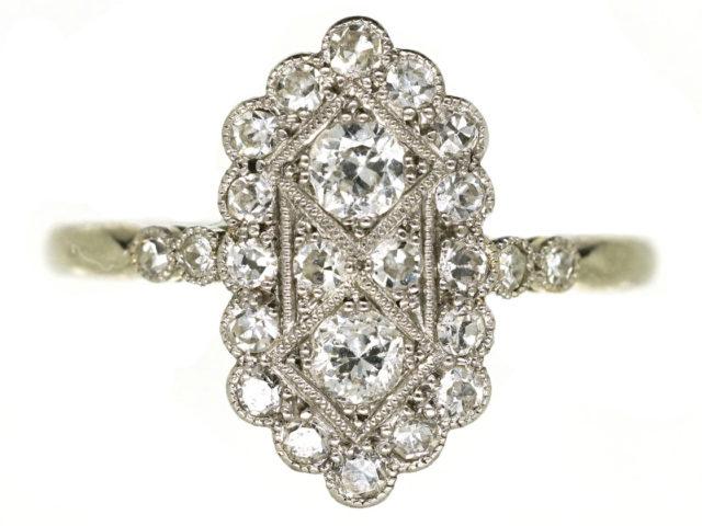 Art Deco 18ct Gold & Platinum, Diamond Rectangular Ring With Diamond Shoulders