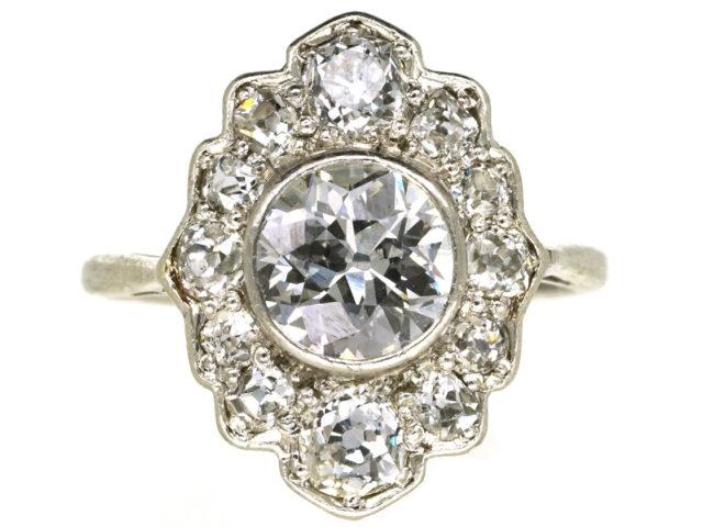 Art Deco Platinum & Diamond Oval Cluster Ring