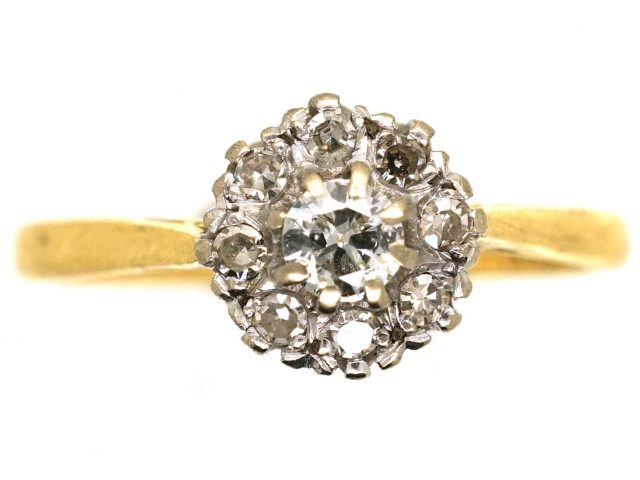 18ct White & Yellow Gold, Diamond Cluster Ring