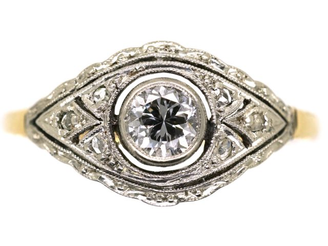 Art Deco 18ct Gold, & Platinum Diamond Ring