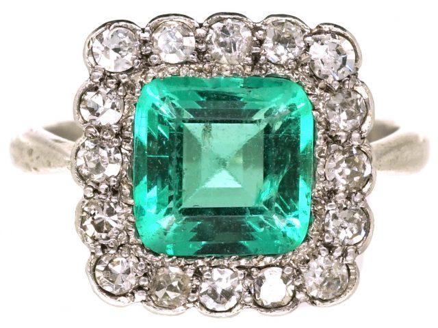 Art Deco Platinum, Emerald & Diamond Square Ring