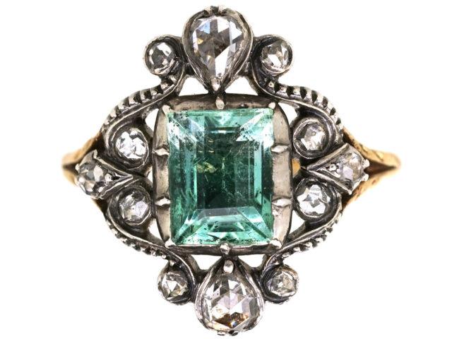 Georgian 15ct Gold, Foiled Emerald & Rose Diamond Ring